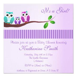 Eulen-Babyparty-Einladung in der Flieder Quadratische 13,3 Cm Einladungskarte