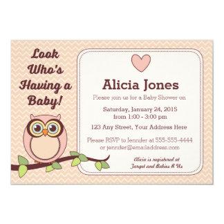 Eulen-Babyparty-Einladung (Mädchen) 12,7 X 17,8 Cm Einladungskarte