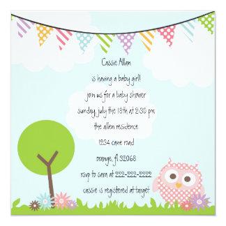 Eulen-Babyparty-Einladung Quadratische 13,3 Cm Einladungskarte