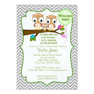 Eulen-Babyparty-Einladungs-Baby-Mama-Vati 12,7 X 17,8 Cm Einladungskarte