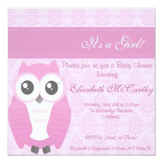 Eulen-Babyparty-Einladungs-Damast-Rosa Quadratische 13,3 Cm Einladungskarte