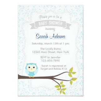 Eulen-Babyparty-Einladungs-Pastellblau 12,7 X 17,8 Cm Einladungskarte