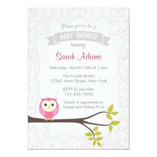 Eulen-Babyparty-Einladungs-Pastellrosa 12,7 X 17,8 Cm Einladungskarte