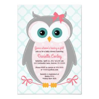 Eulen-Babypartyeinladungen für Mädchenminzenrosa Karte