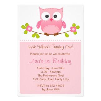 Eulen-Einladung - Mädchen-1. Geburtstag/Babyparty