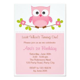 Eulen-Einladung - Mädchen-1. Geburtstag/Babyparty 12,7 X 17,8 Cm Einladungskarte
