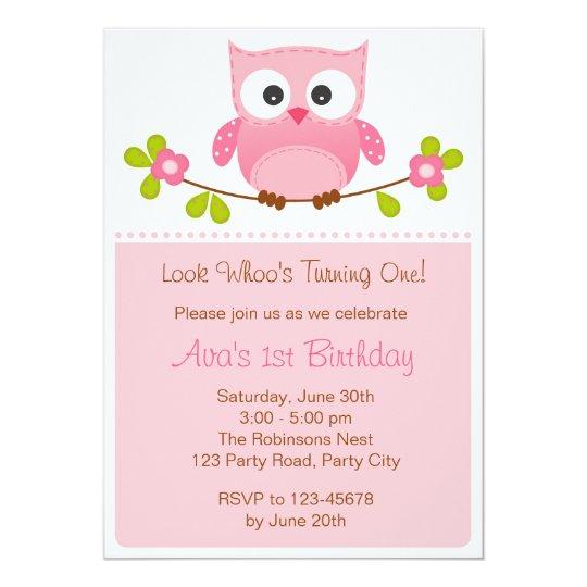 Eulen Einladung   Mädchen 1. Geburtstag/Babyparty Karte