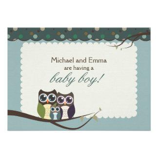 Eulen-Familien-Babyparty für Jungen Personalisierte Einladung