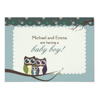 Eulen-Familien-Babyparty für Jungen 11,4 X 15,9 Cm Einladungskarte