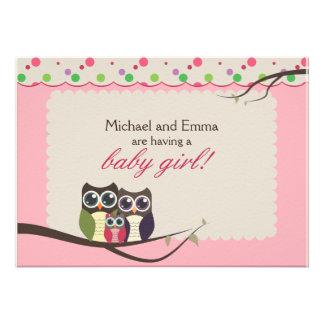 Eulen-Familien-Babyparty für Mädchen Individuelle Einladungskarte