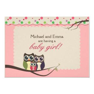 Eulen-Familien-Babyparty für Mädchen 12,7 X 17,8 Cm Einladungskarte
