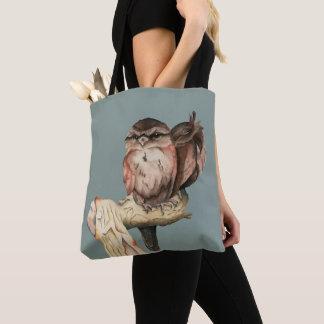 Eulen-Geschwister-Aquarell-Porträt Tasche