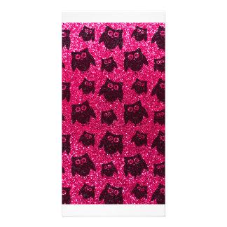 Eulen-Glittermuster der Rose rosa Foto Karten