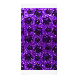 Eulen-Glittermuster des Indigos lila Bildkarten