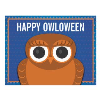 Eulen-Halloween-Postkarte - glückliches Owloween Postkarte