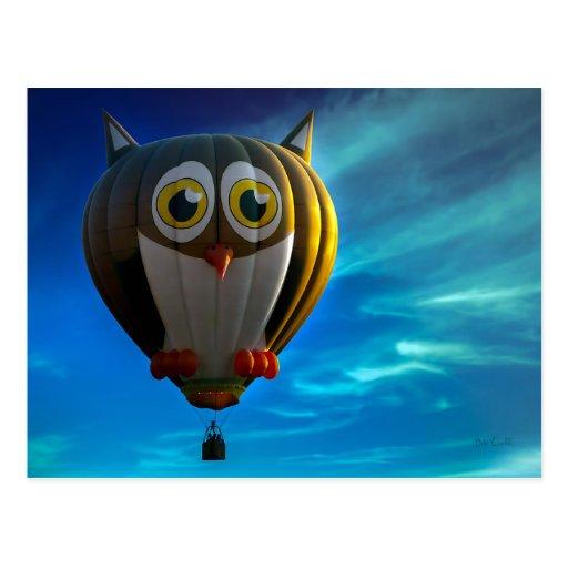Eulen-Heißluft-Ballon-Postkarte