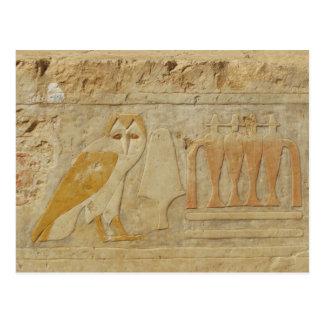 Eulen-Hieroglyphen-Detail, Hatshepsut Tempel, Postkarte