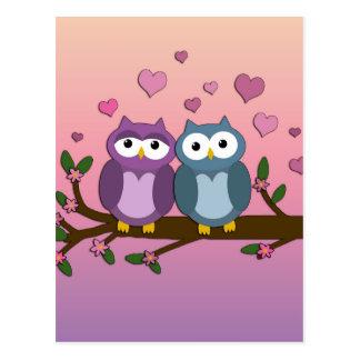 Eulen in der Liebe Postkarte