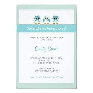 Eulen-Jungen-Babyparty-Einladung 12,7 X 17,8 Cm Einladungskarte