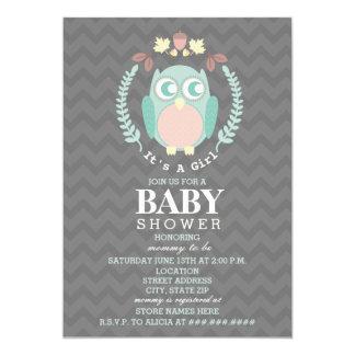 Eulen-Kranz-Babyparty - Mädchen 12,7 X 17,8 Cm Einladungskarte