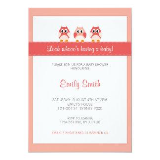 Eulen-Mädchen-Babyparty-Einladung 12,7 X 17,8 Cm Einladungskarte
