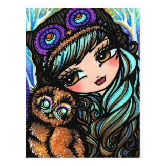 Eulen-Mädchen-feenhafte Fantasie-Kunst-Postkarte Postkarte