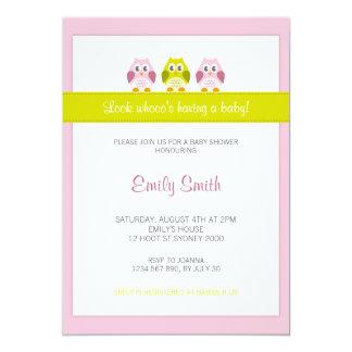 Eulen-rosa und grüne Babyparty-Einladung 12,7 X 17,8 Cm Einladungskarte