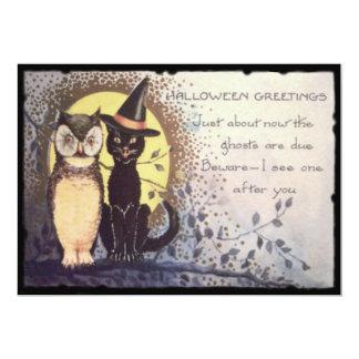 Eulen-schwarze Katzen-Vollmond-Baum-Nacht 12,7 X 17,8 Cm Einladungskarte