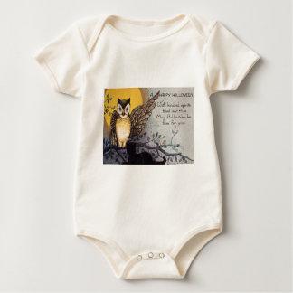 Eulen-schwarze Katzen-Vollmond-Baum-Nacht Baby Strampler