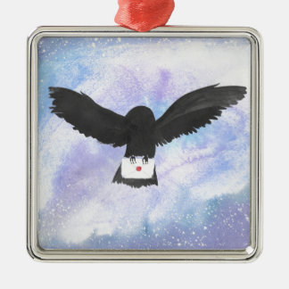 Eulen-tragende Post Quadratisches Silberfarbenes Ornament