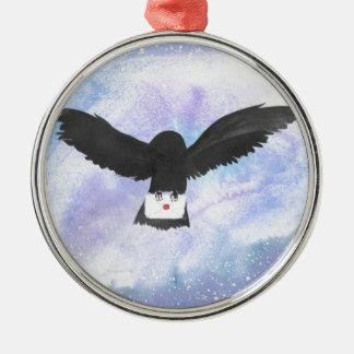 Eulen-tragende Post Rundes Silberfarbenes Ornament