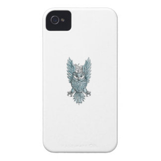 Eulen-übersetzt Swooping Flügel-Uhr Tätowierung Case-Mate iPhone 4 Hüllen