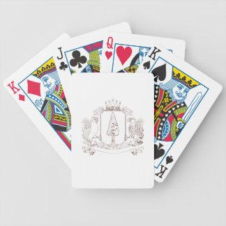 Eulen-und Falke-Rotholz-Kronen-Wappen-Zeichnen Bicycle Spielkarten