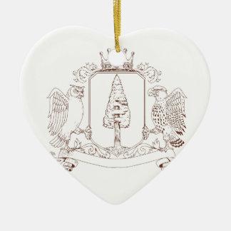 Eulen-und Falke-Rotholz-Kronen-Wappen-Zeichnen Keramik Ornament