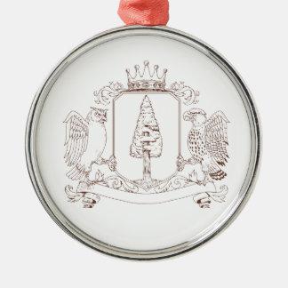 Eulen-und Falke-Rotholz-Kronen-Wappen-Zeichnen Silbernes Ornament
