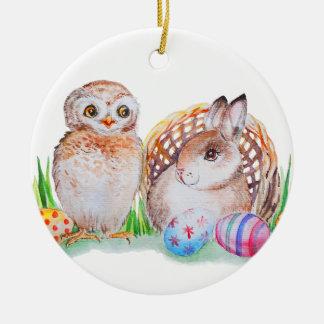 Eulen-und Häschen Ostern-Kunst Keramik Ornament