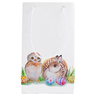 Eulen-und Häschen Ostern-Kunst Kleine Geschenktüte