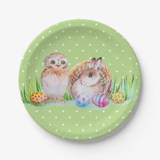 Eulen-und Häschen Ostern-Kunst Pappteller