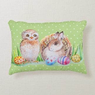 Eulen-und Häschen Ostern-Kunst Zierkissen