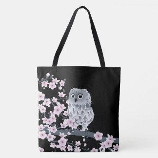 Eulen-und Kirschblüten-Rosa-Schwarzes Tasche