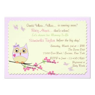 Eulen-und Schmetterlings-Babyparty-Einladung 12,7 X 17,8 Cm Einladungskarte