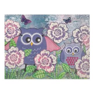 Eulen unter Blumenpostkarte Postkarten