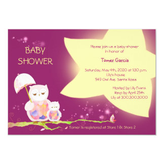Eulen unter Twinkling spielt Babyparty-Einladungen 12,7 X 17,8 Cm Einladungskarte