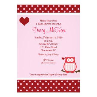 Eulen-Valentinstag-Herz-Babyparty-Einladung