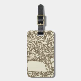 Eulen-Vintager mit Blumenentwurf Williams Morris Gepäckanhänger