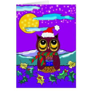 Eulen-Weihnachtsniedliche christliche Kunst Karte