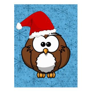 Eulen-Weihnachtspostkarte Postkarte