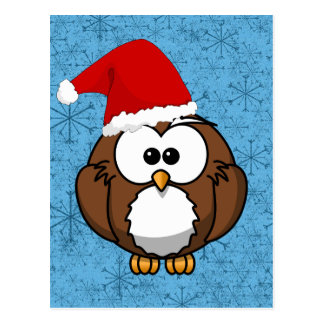 Eulen-Weihnachtspostkarte Postkarten