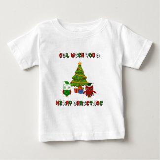 Eulen-Wunsch Sie frohen Weihnacht-Feriengeschenke Baby T-shirt