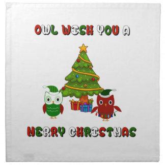 Eulen-Wunsch Sie frohen Weihnacht-Feriengeschenke Stoffserviette